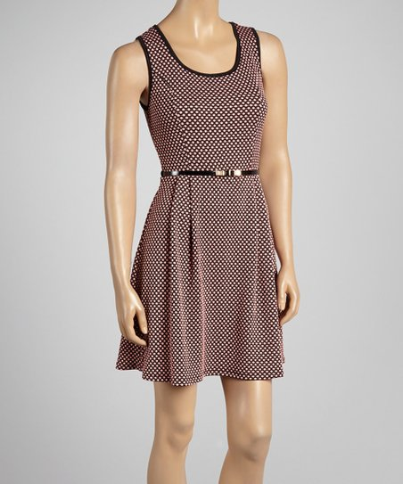 Coral Dot Belted Dress