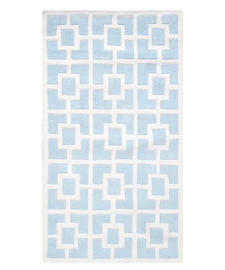 Blue & White Labyrinth Rug
