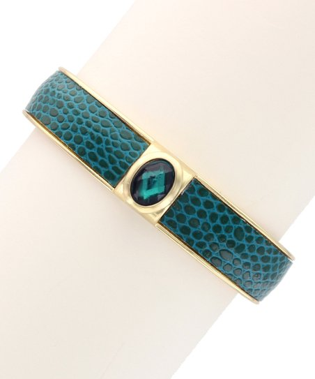 Gold & Emerald Snakeskin Hinged Bangle