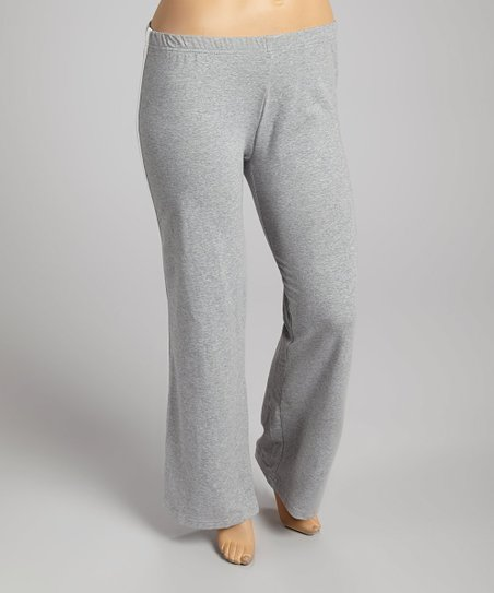 Gray Elastic-Waistband Yoga Pants - Plus