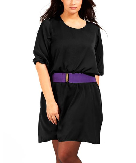 Black & Purple Imalia Scoop Neck Dress - Plus