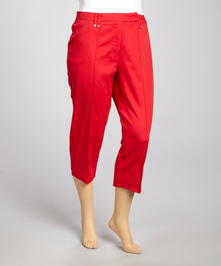 Alphina Red Cropped Jeans - Plus