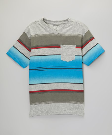Light Gray Heather & Blue Stripe V-Neck Tee - Boys