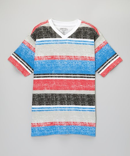 Red Blaze Stripe V-Neck Tee - Toddler & Boys