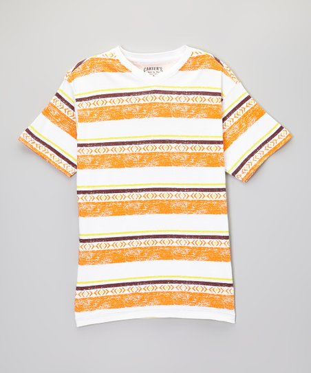 Hot Orange Stripe V-Neck Tee - Toddler & Boys