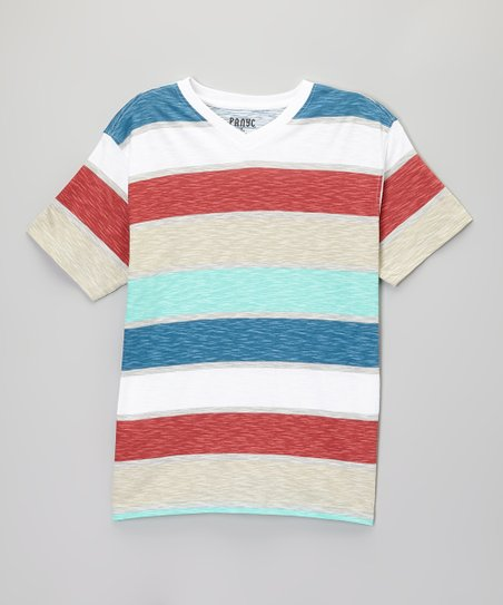 Dark Aqua & Red Stripe V-Neck Tee - Boys