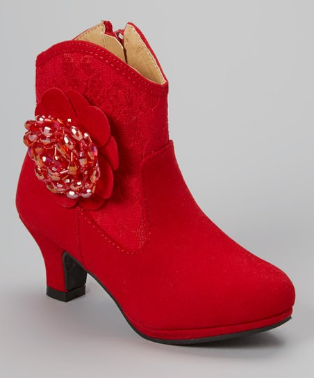 Red Amy Beaded Flower Boot