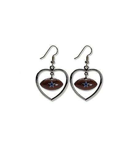 Dallas Cowboys Mini Football Heart Dangler Earrings