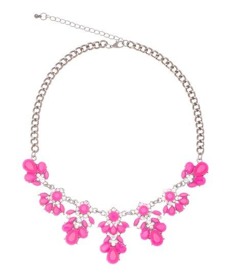 Neon Pink & Sparkle Antique Flower Necklace