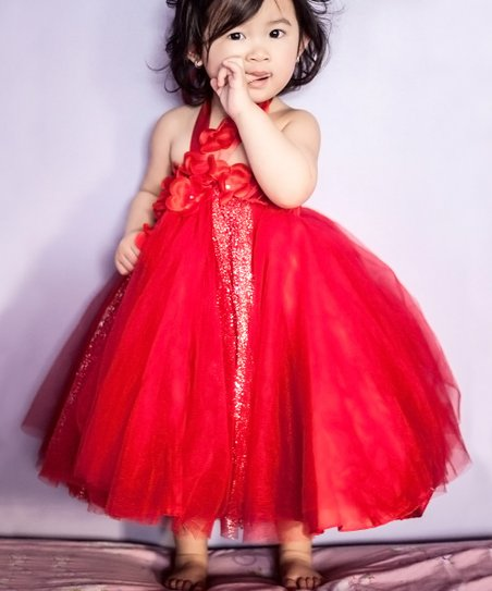 Red Glitter Tulle Dress - Infant, Toddler & Girls