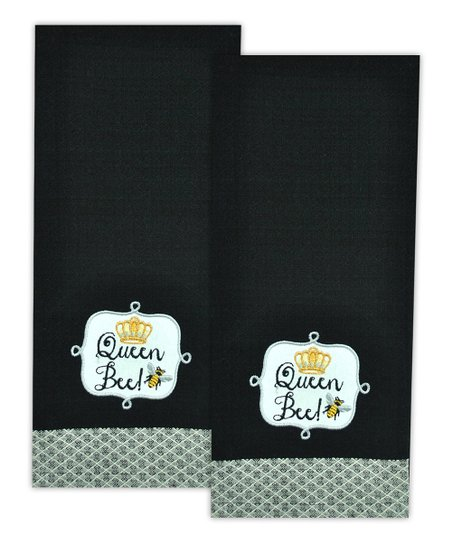 'Queen Bee' Embroidered Dish Towel – Set of Two