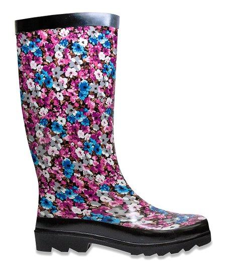 Black Winter Raisin Rain Boot