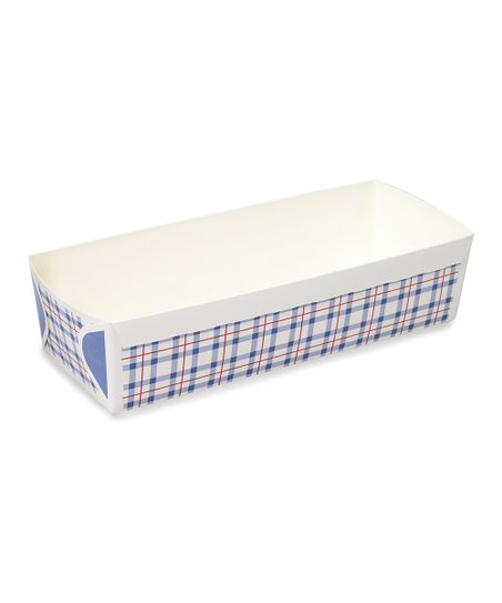 Blue Fine Check Rectangular Loaf Pan - Set of 20