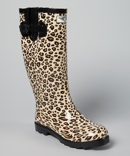 Beige & Black Cheetah Rain Boot
