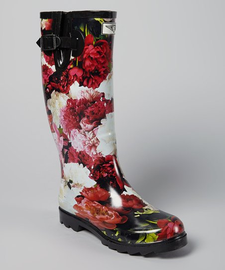 Pink & Red Floral Rain Boot