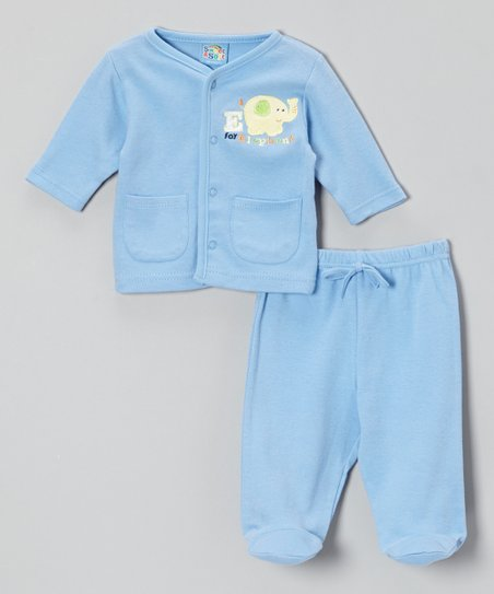 Blue 'Elephant' Cardigan & Footie Pants - Infant