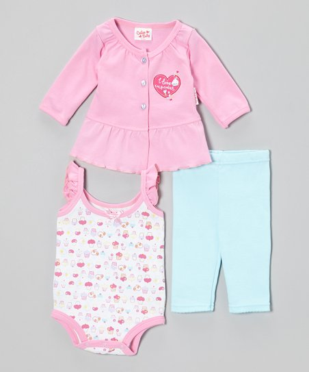 Pink Cupcake Cardigan Set - Infant