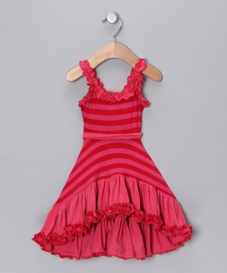 Pink & Red Stripe Ruffle Hi-Low Dress - Toddler & Girls