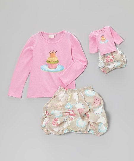 Pink Cupcake Bubble Skirt Set & Doll Outfit – Girls