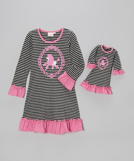 Black & Gray Stripe Poodle Ruffle Dress & Doll Outfit – Girls