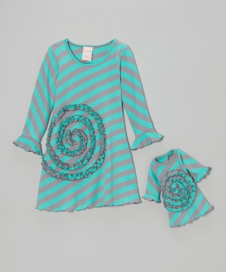 Turquoise & Gray Stripe Ruffle Swirl Dress & Doll Outfit – Girls