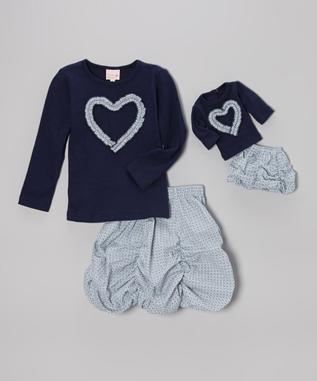 Blue & Gray Bubble Skirt Set & Doll Outfit – Girls