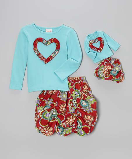 Red & Turquoise Floral Bubble Skirt Set & Doll Outfit – Girls