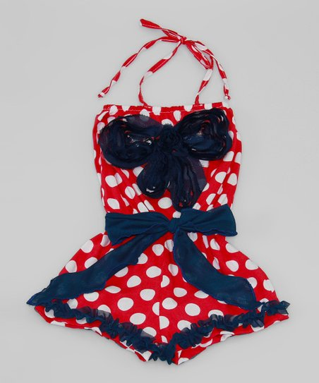 Red & White Polka Dot Bow Romper - Toddler & Girls