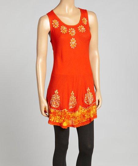 Orange & Gold Daisy Embroidered Tunic