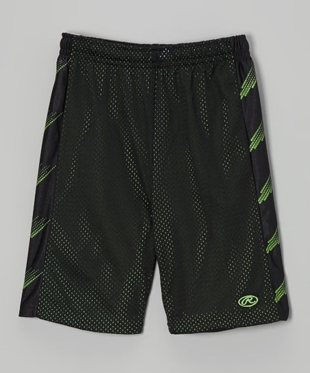 True Black & Green Mesh Shorts