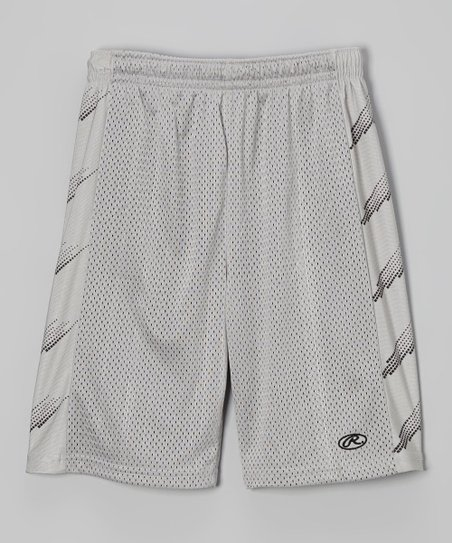 Silver Gray & Black Mesh Shorts