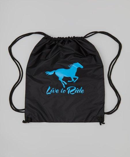 Black 'Live To Ride' Drawstring Bag