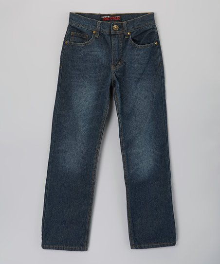 Resin Crushing Straight-Leg Jeans