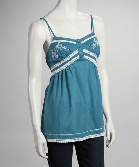 Teal Lace Embroidered Tank