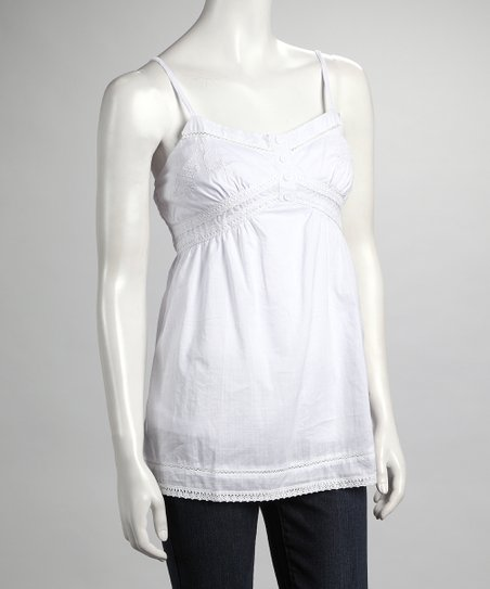 White Eyelet Tank