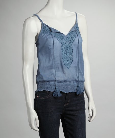 Blue Shirred Tank
