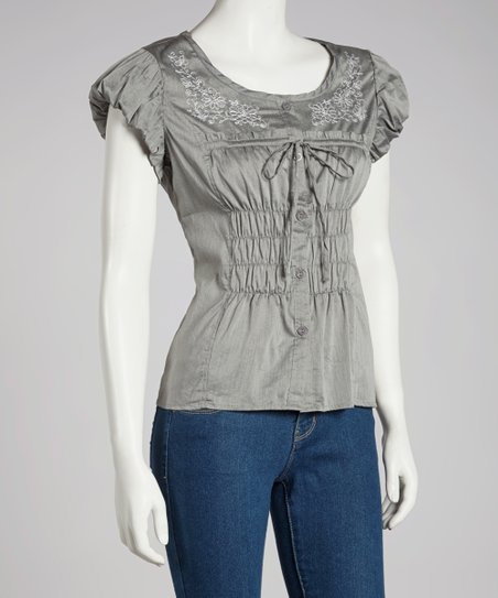 Gray Ruched Puff-Sleeve Top