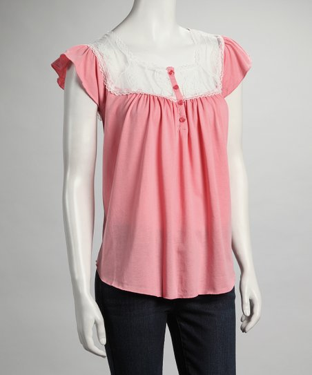 Pink Lace Cap-Sleeve Top