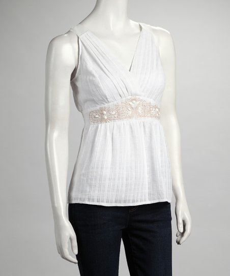 White Surplice Pleated Tank