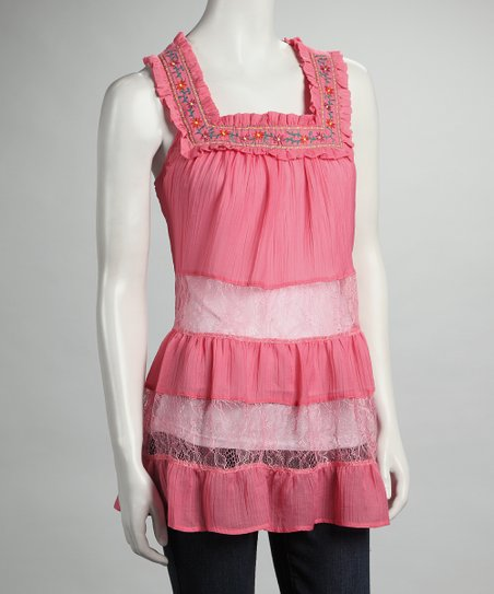 Pink Tiered Lace Tunic