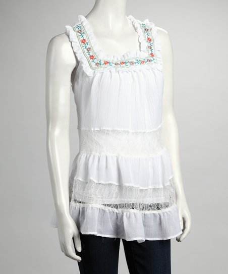 White Tiered Lace Tunic
