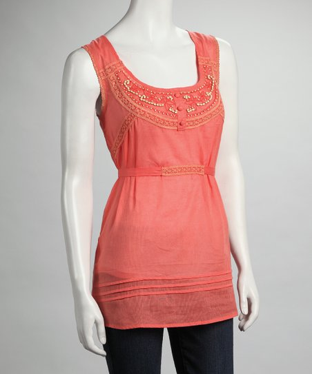 Orange Beaded Sleeveless Top