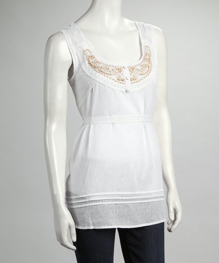 White Beaded Sleeveless Top