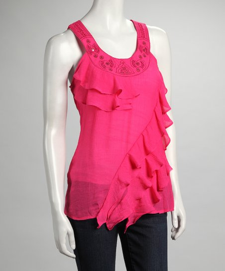 Fuchsia Ruffle Yoke-Neck Top