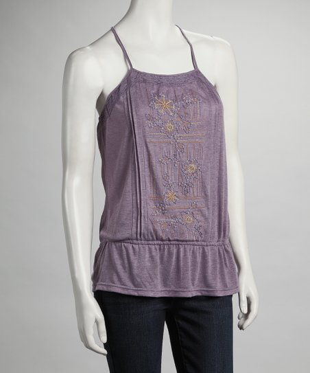 Purple Crochet Back Tank