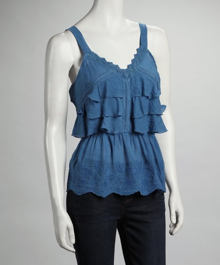 Blue Tiered Tank