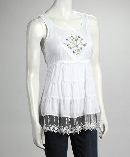 White Embroidered Lace Sleeveless Top