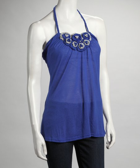 Royal Crochet Flower Halter Top