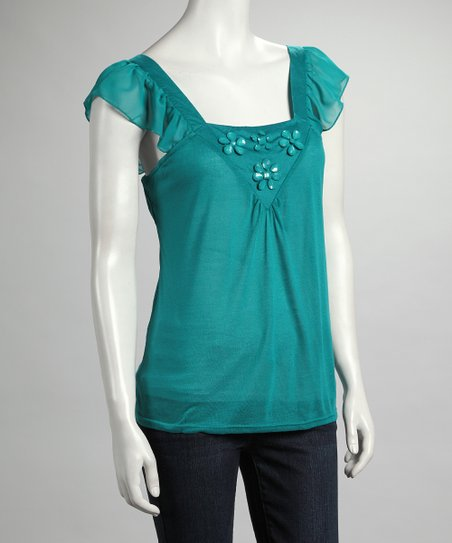 Jade Flower Angel-Sleeve Top