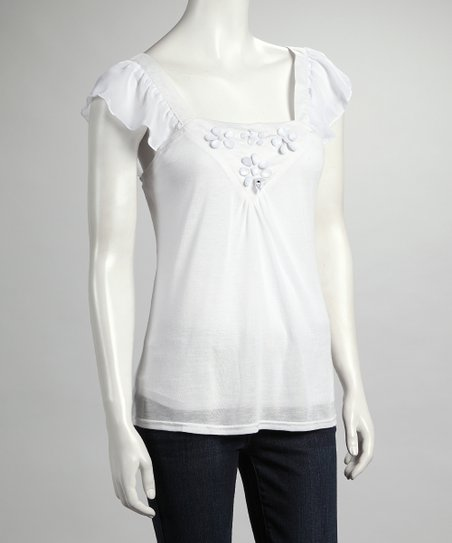 White Flower Angel-Sleeve Top